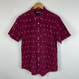 RVCA Mens Button Up Shirt Size M Medium Purple Corduroy Short Sleeve 104.08