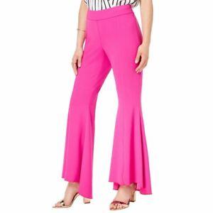 INC NEW Women's Curvy Fit Side-zip High-low Front-slit Flare Pants TEDO