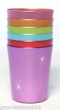Starburst Anodized Aluminium Cups Set 6 Vintage  Mugs Tumblers Homewares 350ml