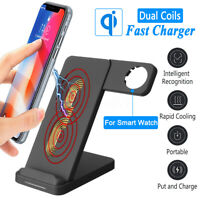 2 in1 10W Fast QI Wireless Charger Dock Stand For Cellphone + Apple Watch  A