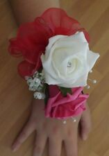 Wedding flowers wrist corsage ivory/hot pink rose & button hole hot pink rose