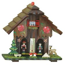 Traditional Wood Weather House Chalet Barometer New