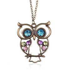 Fashion Women Rhinestone Crystal Owl Pendant Long Sweater Necklace Jewelry Gift