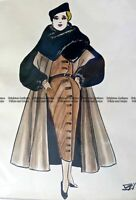 Antique Print 23-283 Fashion - Original pen and ink sketch c.1947 Fashion
