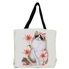 Ragdoll Cat with Pink Lily Flowers Tote Bag