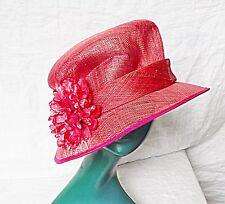 VINTAGE STYLE STRAW CLOCHE TYPE HAT SELF SASH DEEP PINK WITH FLOWER WEDDING CHIC