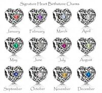 Pandora Signature Heart Birthstone Silver Charm. All months