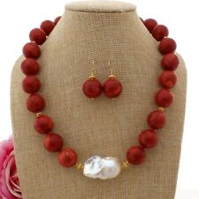 """GE101909 20"""" 18mm Red Coral White Keshi Pearl Necklace Earrings Set"""