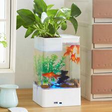 Decorative LED Fish Tank Small Aquarium Desktop Kids Goldfish Bowl with Plants
