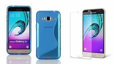 BLUE S-LINE TPU CASE+TEMPERED GLASS FOR CRICKET SAMSUNG GALAXY AMP PRIME
