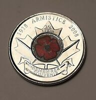 2008 AU Canada 25 Cents (90 Years of WWI Armistice) Remembrance Day Poppy Coin