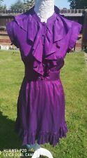 TED BAKER Purple Silk Mix Victorian style dress size 1 UK 8 - 10