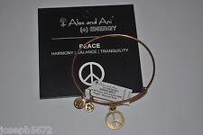 Alex and Ani Expandable Energy Bracelet Russian Gold World Peace Crystal NWT