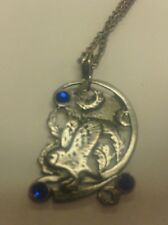 EASTGATE FIRE AND ICE FANTASY NECKLACE PENDANT JEWELRY OWL SILVER PLATED PEWTER