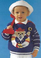 Toddler nautical theme sweater knitting pattern 12mths -3 years Aran boucle 173