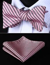 Party  BS602KS Pink Gray Stripe Silk Bowtie Men Self Bow Tie handkerchief set