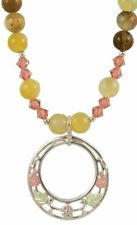 Black Hills Gold and Sterling Silver Beaded Gemstone Double Circle Necklace