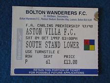 Bolton Wanderers v Aston Villa - 4/10/97 - Ticket