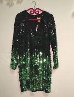 H&M abito vestito verde limited green sequin paillettes Party dress EU 40