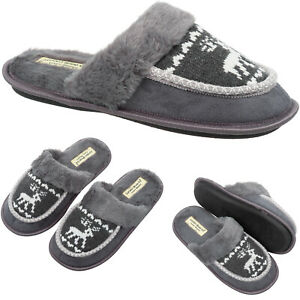Mens Slip On Winter Slippers & Warm Faux Fur Size 6 to 13 UK CHRISTMAS XMAS GIFT