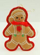 Vintage Felt Gingerbread Man Christmas Ornament Holiday Tree Decoration