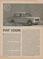 1966 Fiat 1100R Rinnovata Floor Shift Small Sedan Fun Italian 2 Pg Road Test