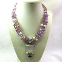 SPECTACULAR Hand Crafted AMETHYST, CITRINE, PEARL Necklace with MOP Pendant
