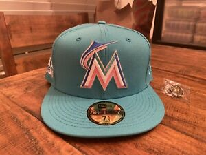 Hat Club Miami Marlins 2017 All Star Game New Fitted hat 7 3/4 Teal Blue Cyclone