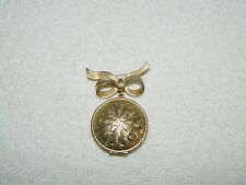Avon Bow & Locket Perfume Brooch Pin No Unforgettable Solid