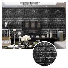 10 Stück 3D Tapete Selbstklebend Wandpaneele Ziegelstein Wandaufkleber Schwarz
