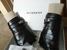NEW GIVENCHY SHARK LOCK BLACK LEATHER AND EEL ANKLE BOOTS, SIZE 6, MADE IN ITALY