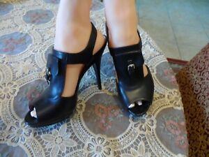 Longchamp Black Leather Platform Heels Size 8M