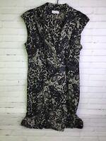 Calvin Klein Lace Print Faux Wrap Dress Stretch Soft Black White Womens Size 12