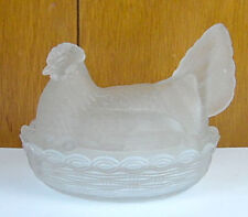 Vintage Rooster Chicken Hen On Nest Clear Frosted Glass Large Covered Dish 7""