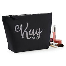 BLACK AND SILVER PERSONALISED MAKE UP BAG Name Glitter Christmas Birthday Gift
