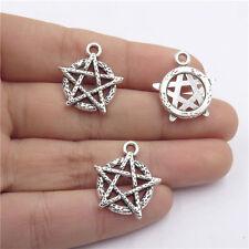 Star Pentagram Pendant for Men Necklace 21276 30X/lot Vintage Silver Alloy Curse