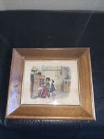 Vintage Print Young Girls in Aprons in the Pantry Cupboard Kitchen Wood Frame