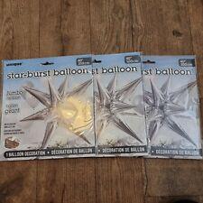"STARBURST 3D FOIL BALLOONS (Party, Star, Colour, Glitz, Jumbo, Large) 40"" x 3"