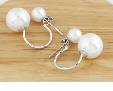 18k White Gold GP White Pearl Double Sided Pearl Imitation Earrings