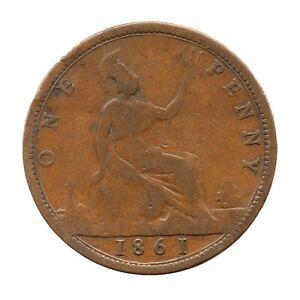 KM# 749 - One Penny - Freeman 26 (5+D) - Victoria - Great Britain 1861 (Fair)