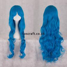 80cm longue ondulés bouclé cosplay perruque en bleu paon, vendeur britannique, jeri style