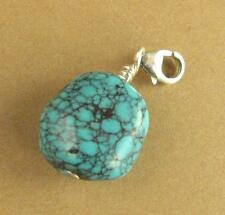 Turquoise clip-on charm. Large. Real stone. Sterling silver 925. Handmade.