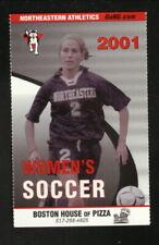 Northeastern Huskies--2001 Soccer Pocket Schedule--Boston House of Pizza