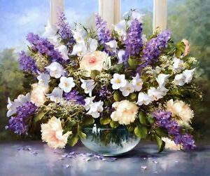 Home Decoration Art Wall Purple Flower Oil painting Picture Printed on canvas