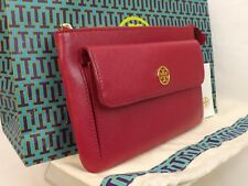 NWT TORY BURCH ROBINSON SAFFIANO RASPBERRY LEATHER REVA POUCH CLUTCH ZIP WALLET