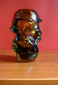 VASE Glas Bohemia Jan Beranek Glass 70er Jahre
