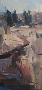 JOSE TRUJILLO Oil Painting IMPRESSIONISM ORIGINAL LANDSCAPE VERTICAL SIGNED NR