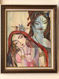 Original acrylic art painting - Radha Krishna :  Eternal love and devotion