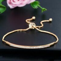 Adjustable Bracelet Bangle for Women Captivate Bar Slider Brilliant CZ Rose Gold