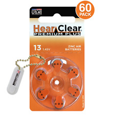 60 HearClear Size 13 1.45V Hearing Aid Batteries + Holder/2 Extra Batteries